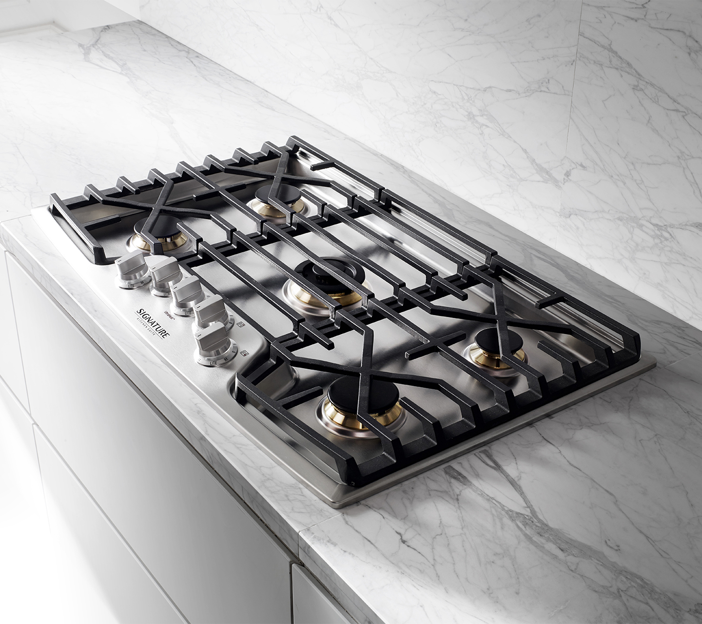 Gas cooktop with cast iron grates from Signature Kitchen Suite