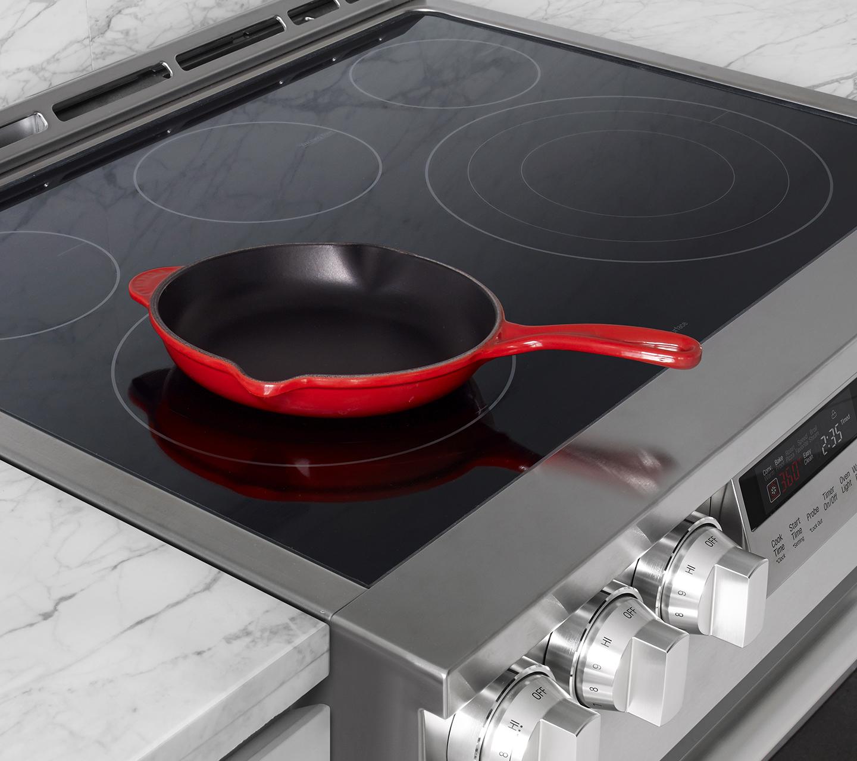 "Ceramic Glass Cooktop on 30"" Electric Slide-In Range"