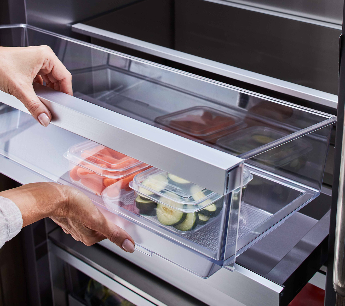 Purposeful Design with Lift and Go™ Bins in Built-in Refrigerator