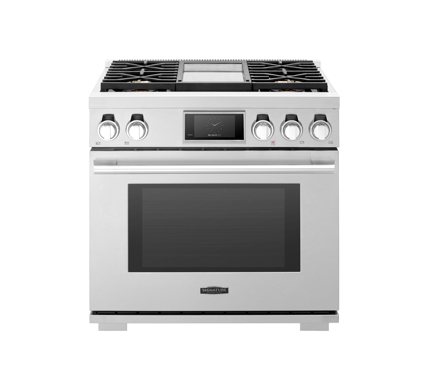 36-inch Gas Range with 4 Burners and Griddle | Signature Kitchen Suite