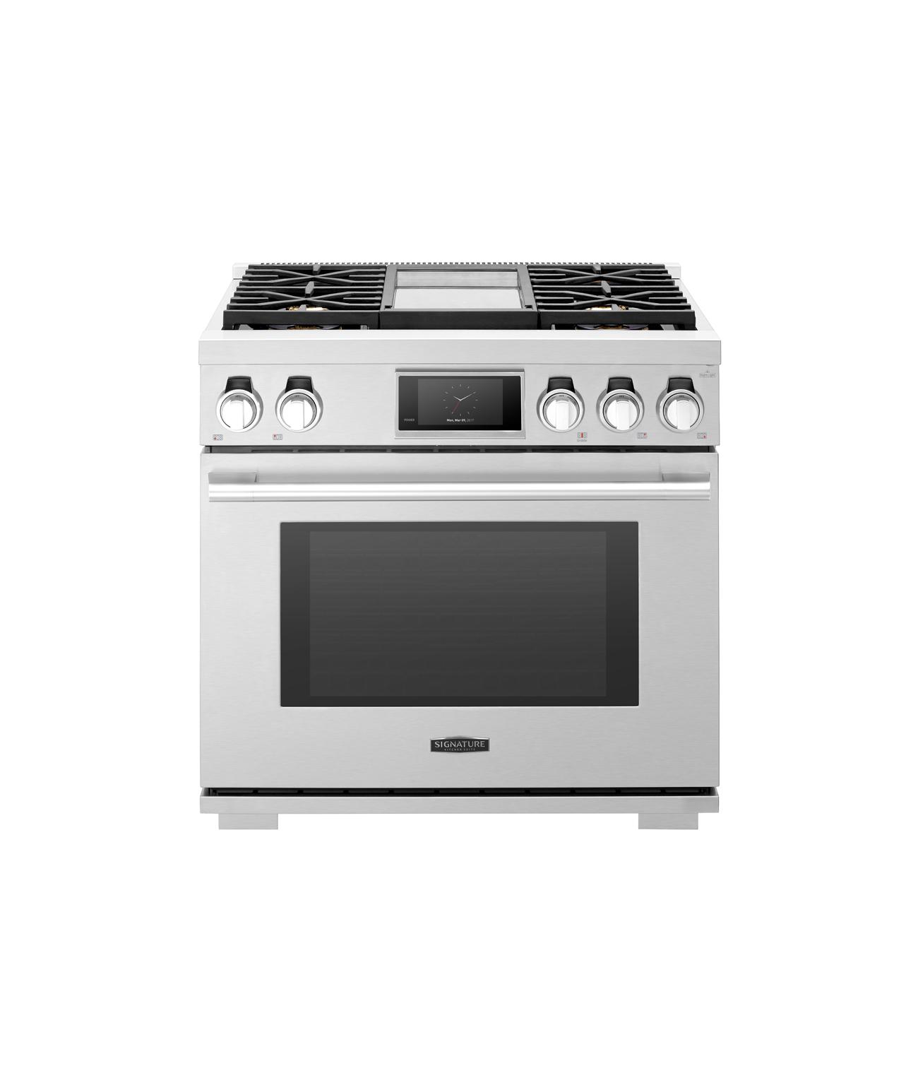 Cuisinière professionnelle biénergie de 91cm avec four à vapeur et plaque de cuisson