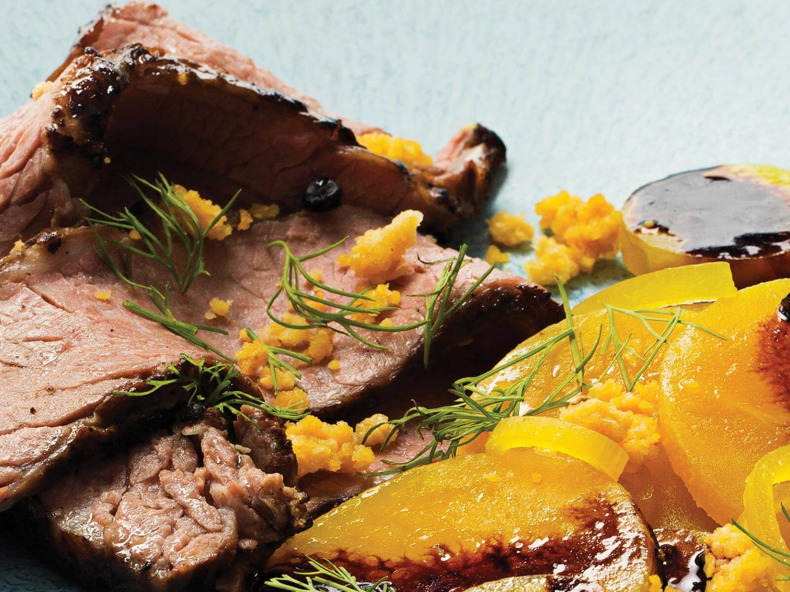 Sous Vide Smoked Brisket with Cornbread Crumble and Golden Beet Salad